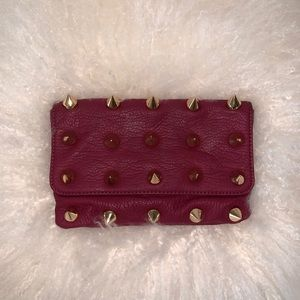 Deux Lux Spiked Gold and Maroon Hand Bag